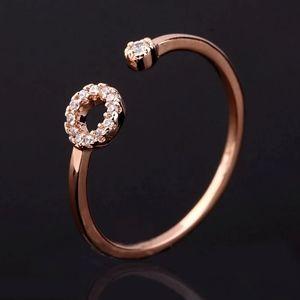 NEW 18k Rose Gold Diamond Circle Adjustable Ring